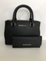 NWT MICHAEL KORS SAFFIANO LEATHER KELLEN STUDDED XS SATCHEL BAG BLACK & ... - $229.85