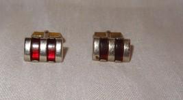 Vintage Swank Gold Tone Ruby Red Lucite Stripe Inlay Cufflinks - $21.04