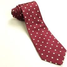 Burgundy White Tie | Ralph Lauren Polka Dot Necktie - $69.29