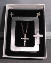 VTG NIB 3 & 1 Picture Frame, Earring, Necklace Set -Crucifix Cross Design - $19.80