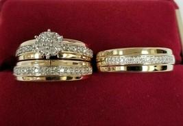 14K Yellow Gold Over Bridal Wedding Trio Ring Set Mens & Womens Diamond ... - $176.34