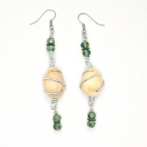 EARRINGS THE ALUMINIUM LONG 3 1/8in WITH SEASHELLS HEMATITE AND CRYSTAL GREEN image 2