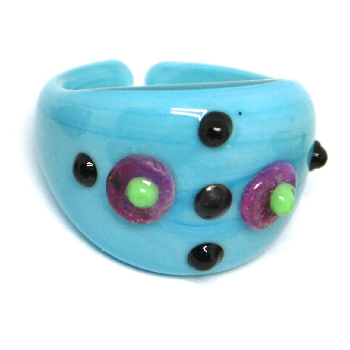 Ring Antica Murrina, Murano Glass, Light Blue, Vented, Polka dot Embossed