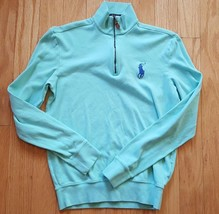 POLO Ralph Lauren 1/4 Zip Sweatshirt XS Light Green Blue 100% Cotton - $19.79