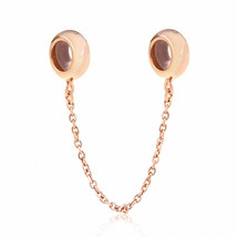 Xuthus Charms Rose Gold Rubber Stopper Safety Chain 925 Sterling Silver ... - $38.20