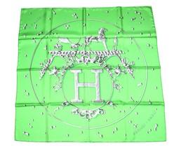 Hermes Scarf Vif Argent by Dimitri Rybaltchenko 90 cm Silk Green Carre S... - $523.71