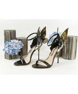 Sophia Webster Chiara Black Gold Metallic Leather Butterfly Heels Size 3... - $489.56