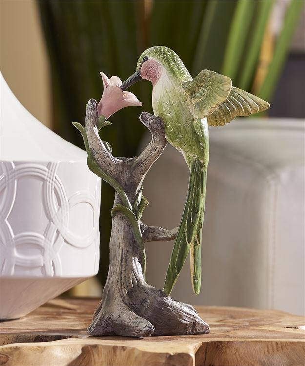 Hummingbird on Tree Trunk Figurine with Flower Home Decor