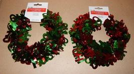 Garlands Red & Green HO HO HO Tinsel 2pks 24ft Total Celebrate It Christ... - $9.49