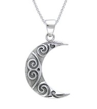 Jewelry Trends Sterling Silver Crescent Moon Spiral Celtic Pendant on 18... - $35.20