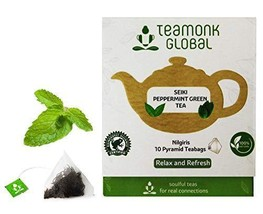Teamonk Seiki Peppermint Green Tea Bags - 10 Teabags | Tea for Relaxation | Refr - $10.99