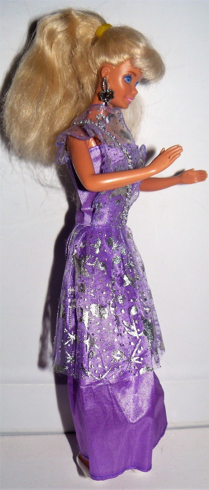 b7df5ad2331c Mattel 1980s Twist N Turn Blond Barbie doll in purple dress white shoes  earring
