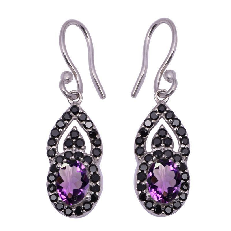 Amethyst With Black Spinel Gemstone 925 Sterling Silver Dangle Earring SHER1067