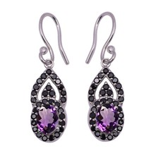 Amethyst With Black Spinel Gemstone 925 Sterling Silver Dangle Earring S... - $19.49