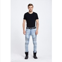 New Men hip hop Men Jeans masculina Casual Denim distressed Men's Slim Jeans pan image 2