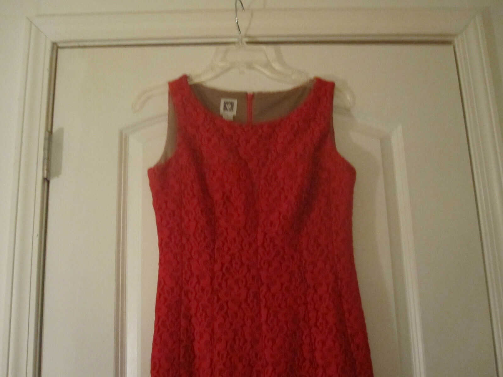 Anne Klein Womens Red Crochet Dress Lined Sleeveless Size 2 image 2