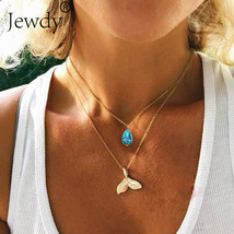 Jewdy® Mystical Mermaid Pendant Necklace Gold Whale Tail Water Droplets ... - $3.08