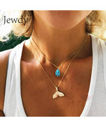 Jewdy® Mystical Mermaid Pendant Necklace Gold Whale Tail Water Droplets ... - $3.35