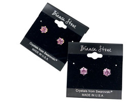 Bianca Stone February Birthstone Stud Earrings With Crystals Made By Swa... - $9.99