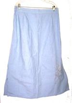 Sz 2X - Light Blue A-Line Skirt w/Pearl Beaded Flower Embroidery Size 2X - $28.49