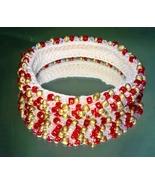 Araina Sparkles Red & Gold Glass Bead Bangle Bracelet Small/Medium Wrist# 14 - $27.95