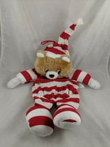 "Santa's Best Teddy Bear Stocking Plush Sack 16"" Red White Stripes Stuffed Animal - $19.95"