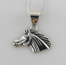 Handcrafted Modern Silver Horse Head Pendant w/ Chain - $38.57