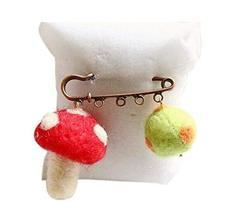 Cute Cartoon Animal Wool Felt Brooch Pin Clothing Accessories, Mushroom
