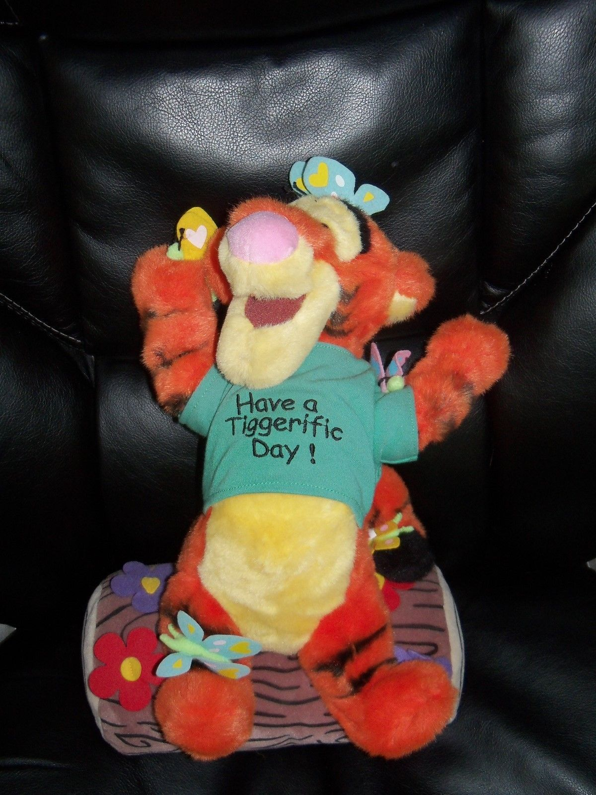 Primary image for DISNEY TIGGER ON LOG HAVE A TIGGERIFIC DAY PLUSH BUTTERFLIES FLOWERS 16 IN NWOT