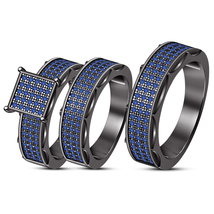 Sapphire Trio Set Black Gold Fn Matching His & Her Engagement Ring Weddi... - $162.99