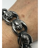 Silver Stainless Steel Gothic Buddha 9 Inch Bracelet - $99.00