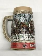 "Vintage 1987 Budweiser Clydesdale Holiday Beer Stein ""C"" Series Anheuser Busch - $10.35"