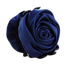 A Beautiful Rose Flower Hair Clips Headwear Ponytail Clip, Navy Blue