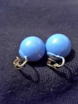 Vintage Periwinkle Blue Ball Clip on Earrings - $3.00