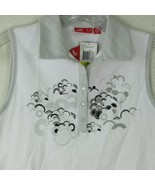 New Womens PUMA Size M White Golf Polo Shirt Silver Graphics Sleeveless ... - $29.65