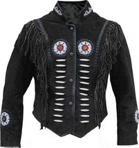 QASTAN Men's New Western Black Suede CowLeather Jacket Fringes/Bones/Bea... - $177.21+