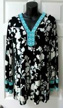 BCBG  MaxAzria Max Azria Black White Aqua Turquoise Tunic Top Mini Dress... - $48.00