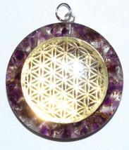 "1 1/2"" Flower of Life Orgone Amethyst & Quartz pendant pagan gemstone - $14.99"