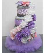 Pink , Grey and Purple Themed Baby Shower 4 Tier Floral tutu Diaper Cake - $80.00