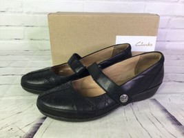 Clarks Womens Size 8 Grace Faye Black Leather Mary Jane Flats Shoes Soft... - $30.86