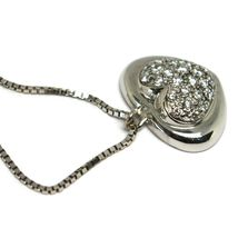 18K WHITE GOLD NECKLACE WITH DIAMONDS ROUNDED HEART PENDANT, VENETIAN CHAIN image 3