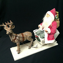 Vintage Santa Claus Sleigh Reindeer Center Piece Figurine - $84.15