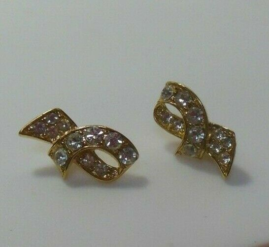 Signed Crown Trifari Gold Tone Clear Rhinestone Ribbon Pierced Earrings