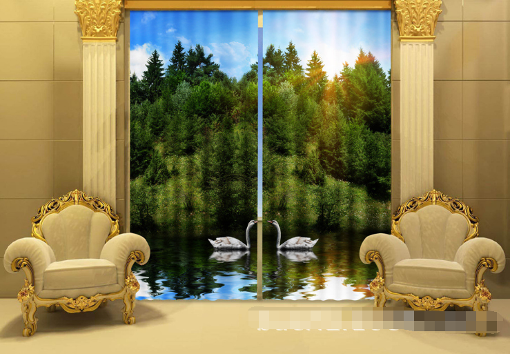 Primary image for 3D Sun Forest 0325 Blockout Photo Curtain Print Curtains Drapes Fabric Window UK