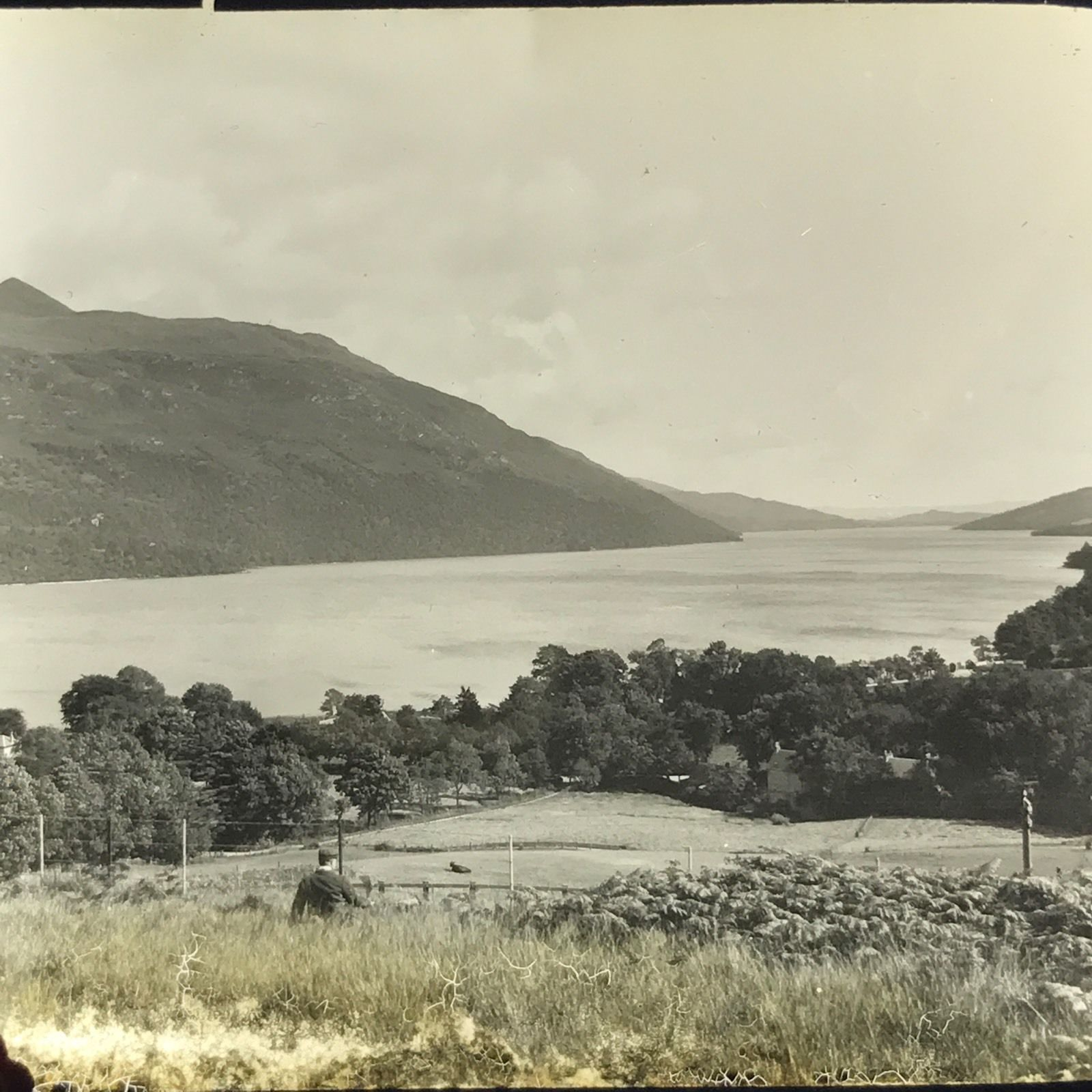 Vtg Magic Lantern Glass Slide Photo Loch Lomond Scotland From Rail