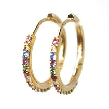 18K ROSE GOLD HOOPS EARRINGS, CUBIC ZIRCONIA MULTI COLOR, 20mm, 0.8 inches image 2