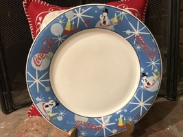 "1 Coke Coca-Cola Christmas Serving Plate 11"" Laughing Snowman Stoneware - $13.85"