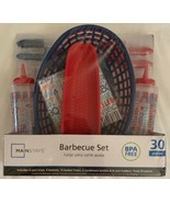 Mainstays 30 Piece Barbecue Set New RED/WHITE/BLUE Corn Holders Baskets ... - $11.87