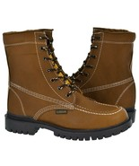 Mens Moc Toe Lace Up Work Boots Tan Real Leather Durable Non Slip Shoes - $54.99