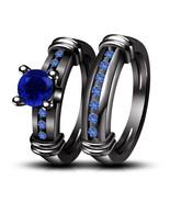 14K Black Gold Finish 1.30 Ct. Round Blue Sapphire Band Wedding Bridal R... - $107.89
